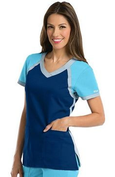 Greys Anatomy Scrubs:A color block crossover v-neck design highlights this delightful junior fit scrub top.-Barco Discount Nursing Scrubs and Medical Fashion Uniforms, Barco Hospital Uniforms From Top Medical Uniforms Medical Uniforms, Nursing Uniforms, Medical Scrubs, Nursing Scrubs, Nursing Tips, Scrubs Uniform, Greys Anatomy Scrubs, Scrub Tops, Work Attire