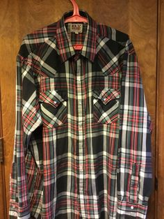 a65b4d0b vintage mens ely cattleman xl western shirt plaid long sleeves pearl snaps  #ElyCattleman #Western