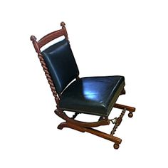 1880s Sliding Rocking Chair, Leather & Wood Victorian Furniture on Chairish.com