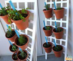 Pensando em criar um jardim vertical? Se você for cultivar pequenas hortaliças, o ideal é usar plaquinhas para identificar cada espécie como na foto. ;)