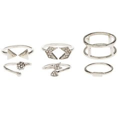 Charlotte Russe Arrows & Chevrons Stackable Rings - 5 Pack ($6) ❤ liked on Polyvore featuring jewelry, rings, gold, gold rings, charlotte russe, chevron ring, gold jewellery and yellow gold stackable rings