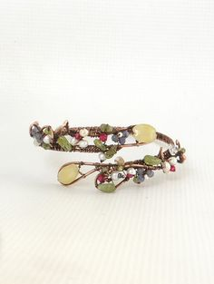 Floral gemstones Bracelet,  blossom bangle with pearls and iolite flowers, floral jewelry Valentine's gift for her