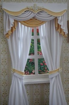 Miniature Dollhouse curtains to order by TanyaShevtsova Curtains Without Valance, Cute Curtains, Vintage Curtains, Beautiful Curtains, Modern Curtains, Colorful Curtains, Drapes Curtains, Curtain Styles, Curtain Designs