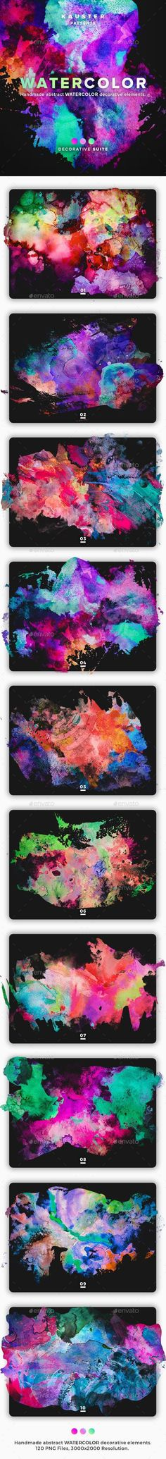 Buy Watercolor Decorative Suite by kauster- on GraphicRiver. Watercolor Decorative Suite This pack includes 120 Watercolor Elements. Suitable for printing, web design, banners, . Web Design, Graphic Design, Different Colors, Color Schemes, Banner, Watercolor, Prints, Poster, Icons