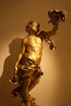 Gold Bacchus Statue (by Mark Cartwright) -- Carved and guilded wood representation of Bacchus (ca. Attributed to Filippo Parodi. Greek Mythology Gods, Classical Mythology, Greek Gods, Gods And Goddesses, Ancient Greek Art, Ancient Rome, Ancient Greece, Ancient History, Roman Names