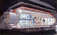 Early Lunar Outpost based on a module like those used for the International Space Station. Equipment is mounted in modular racks. Most equipment directly supports human life support, human health, and habitation. NASA, 1990