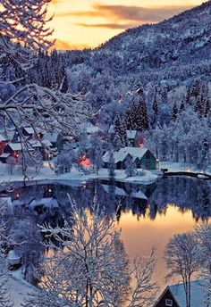Snowy Village in Norway Google+
