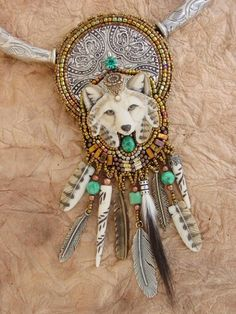 Laura Mears wolf and feathers. Gorgeous.