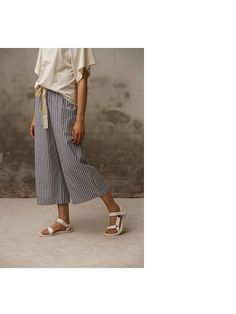 Striped wide leg lounge pants with ivory jersey top.  Pluto - On the Moon