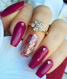 Burgundy-maroon red Coffin shape nails  Tbh  real my nails are this length definitely my shape
