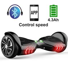 TOMOLOO SelfBalancing Scooter UL2272 Certified 65 Wheel Hoverboard with RGB Lights Bluetooth Speaker Customizable App Black >>> Want to know more, click on the image. (This is an affiliate link) #Scooters