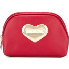 Love Moschino Heart Embellished Make-Up Bag ($92) ❤ liked on Polyvore featuring beauty products, beauty accessories, bags & cases, red, travel kit, makeup bag case, purse makeup bag, cosmetic bag and toiletry bag