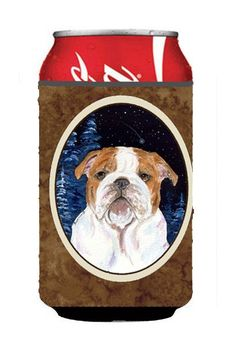Starry Night English Bulldog Can or Bottle Beverage Insulator Hugger