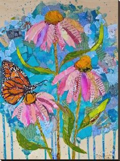 Wildflowers / / collage on cradled panel / ©St.Hilaire Nelson collage and paint by Elizabeth St. Magazine Collage, Magazine Art, Arte Pop, Mixed Media Collage, Collage Collage, Paper Collage Art, Nature Collage, Art Plastique, Stretched Canvas Prints