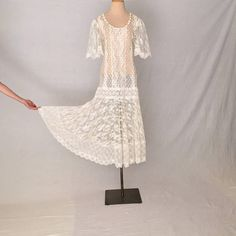 6fc312ab2 Vintage lace wedding dress M S women/Boho white lace Drop Waist Wedding  Dress, White