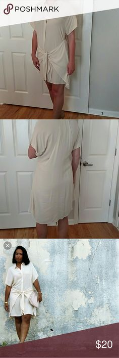 NWT Cream Tie-Waist Shirt Dress I bought this a size smaller than I probably needed because it was sold out. So cute, originally spotted on Brittany Xavier of the Thrifts and Threads blog. Perfect condition, tags still attached.  Cover photo courtesy of Thrifts & Threads. Forever 21 Dresses