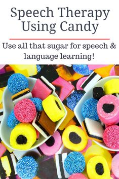 Speech therapy candy....a relatively free and easy way to target speech and language goals for both parents and professionals!After yet another candy-filled holiday, it hit me, candy is a perfect speech therapy tool. It is cheap and is usually found in every home. Enjoy my speech therapy idea using candy! Articulation Therapy, Speech Activities, Speech Therapy Activities, Speech Language Pathology, Holiday Activities, Speech And Language, Receptive Language, Therapy Ideas, Parents