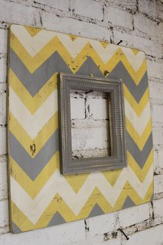 Mod Chevron Distressed Wood Picture Frame ANY Three Colors 5x7 Opening. $110.00, via Etsy.