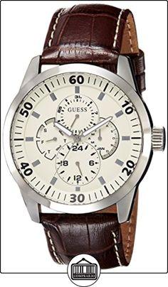 Guess W95046G1 - Reloj analógico de caballero de cuarzo con correa de piel marrón - sumergible a 30 metros de ✿ Relojes para hombre - (Gama media/alta) ✿