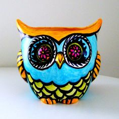Large Owl Planter Ceramic Pot Hand Painted Garden Folk Art Woodland Heart Feather Stripes Turquoise Blue Orange Pink Green - Ready to ship Ceramic Flower Pots, Ceramic Owl, Color Me Mine, Owl Pictures, Ceramic Bisque, Textiles, Pink And Green, Orange Pink, Hand Painted Ceramics