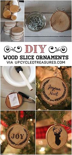 DIY Wood Slice Ornament Tutorial   27 Spectacularly Easy DIY Christmas Tree Ornaments, see more at http://diyready.com/spectacularly-easy-diy-ornaments-for-your-christmas-tree
