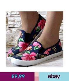 Trainers Womens Blue Pink Floral Pumps Plimsolls Trainers Flat Wide Fit Shoes Size 3-8 #ebay #Fashion