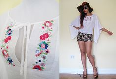 Vintage 70's hippie white embroidered floral flower by RebelCloset, $39.99
