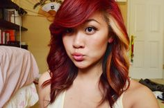 red and blonde hair | Gorgeous red, brown and blonde hair color LOVE her bangs!!!!!!!!!
