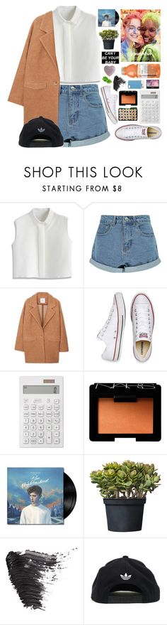 """""""after a long day, drinking in the hallway"""" by i-smell-grunge ❤ liked on Polyvore featuring Chicwish, Boohoo, MANGO, Converse, Muji, NARS Cosmetics, Beautiful People, Topshop, adidas and Case Scenario"""