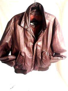 VINTAGE Members Only Flight/Bomber Leather Jacket-Size 42  #GlobalIdentity #FlightBomber