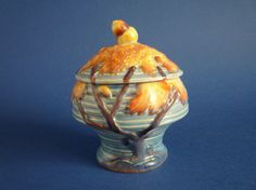 A beautiful Carlton Ware Night Oak preserve pot and cover with acorn finial Lovely blue satin glaze with the oak tree detail hand painted in bright Carlton Ware, Oak Tree, Blue Satin, Different Recipes, Acorn, Preserves, Cup And Saucer, Tea Pots, Restoration