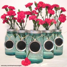 Chalkboard Wedding Table Numbers 5 Mason Jar Labels Mason Jar Wedding Party Centerpiece Handmade Upcycled Charms Only-No Jars. $17.50, via Etsy.