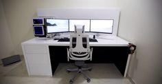 White triple monitor gaming setup More