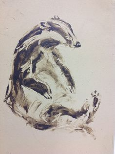 Drawings on clay. Badger. 2014