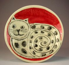 cat dish by ceramiquecote on Etsy Pottery Painting, Ceramic Painting, Painted Ceramics, Painted Porcelain, China Clay, Kinds Of Cats, Cat Dog, Cat Stuff, Crazy Cats