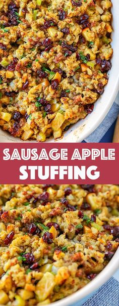 This stuffing recipe is so easy. Sausage, apples and cranberry combined with fresh herbs and buttery toasted bread crumbs! This stuffing recipe is so easy, sausage, apples and cranberry combined with fresh herbs and buttery toasted bread crumbs! Stuffing Recipes For Thanksgiving, Easy Holiday Recipes, Fall Recipes, Dinner Recipes, Thanksgiving Food, Christmas Stuffing, Cranberry Recipes Dinner, Thanksgiving Dinner Sides, Soup Recipes