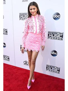 Best dressed at the 2015 AMAs: Zendaya in a pink lace top and mini skirt