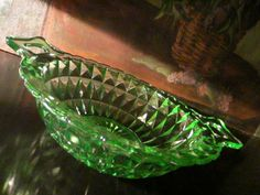 "Windsor Diamond Green glass bowl, beautiful handles, by Jeanette Glass Co. circa 1930-40. excellent condition, 4"" h. x 10"" w. Impressive cut, impressive handle."