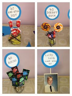 Centerpieces for birthday party. Adult Birthday Party, 40th Birthday Parties, Man Birthday, Birthday Games, Birthday Basket, Birthday Activities, Birthday Celebration, Birthday Wishes, 40th Party Ideas