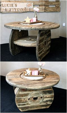 Here you can see an innovative creation by Lucie's Palettenmöbel; the cable spool table is looking innovatively designed with the area to place things under the table. The table in circle shape is good to be copied for the restaurant setting. Wooden Spool Projects, Wooden Spool Tables, Wood Spool, Wood Projects, Handmade Furniture, Upcycled Furniture, Diy Furniture, Wood Pallet Furniture, Wood Pallets
