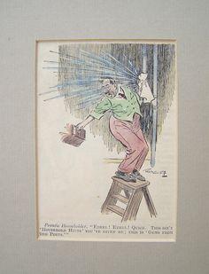 Karikatur °plumber° Original um 1930 (#G026) von Sammel-Leidenschaft auf DaWanda.com