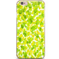 "Ebi Emporium ""Giraffe Spots Lemon Lime"" Green Yellow iPhone Case ($49) ❤ liked on Polyvore featuring accessories, tech accessories, silicone iphone case, polka dot iphone case, iphone cover case, iphone cell phone cases and lime green iphone case"