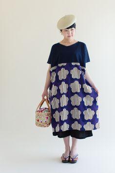 """New """"Rectangle"""" Straight Line Dress, made of chizimi crepe cotton from Takamatsu, Japan. Printed by Hand. #sousou #tunic #tunicdress #abstract #art #sousouus #kyoto #japan #womenswear #womensfashion #summerdress #katsujiwakisaka #textile #fabric"""