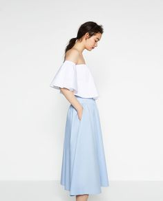 ZARA - WOMAN - MIDI POPLIN SKIRT