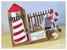 lighthouse step card - like the fence Fun Fold Cards, Folded Cards, Cool Cards, 3d Cards, Side Step Card, Handmade Birthday Cards, Handmade Cards, Nautical Cards, Beach Cards