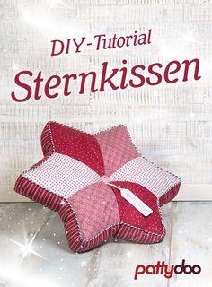 Nähe mit meiner Anleitung und dem kostenlosen Schnitt ein schönes Kissen mit Paspel oder einen Patchwork-Stern-Untersetzer selber >>>