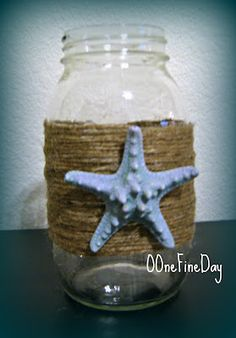 DIY mason jars...I would use this for any vacation I take! Put sand or even a small souvenir from the place you visited and line them up on a shelf