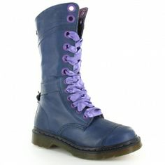 Dr Martens Triumph 1914 Womens Leather Fold Over Mid-Calf Lace-Up Boots - Light Navy Blue
