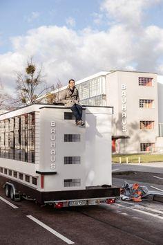 Berlin-based architect Van Bo Le-Mentzel designed the bus version of the iconic workshop wing of the Bauhaus school building in Dessau. Architecture Bauhaus, Art And Architecture, Architecture Details, Walter Gropius, Hong Kong, Travel Around The World, Around The Worlds, Art Occidental, Journal Du Design