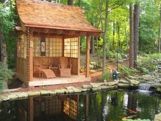 Koi Pond and Japanese-style Tea House Raleigh koi teahouse japanese garden design, Cary NC Japanese Tea House, Japanese Garden Design, Traditional Japanese House, Japanese Water, Japanese Gardens, Asian Garden, Cool House Designs, Water Garden, Backyard Landscaping
